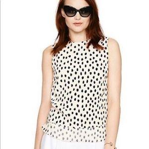 Kate Spade Silk Leopard Dot Sleeveless Blouse M